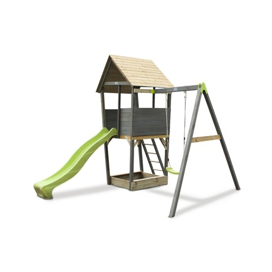 Aksent Wooden Play Tower With One Swing And Slide