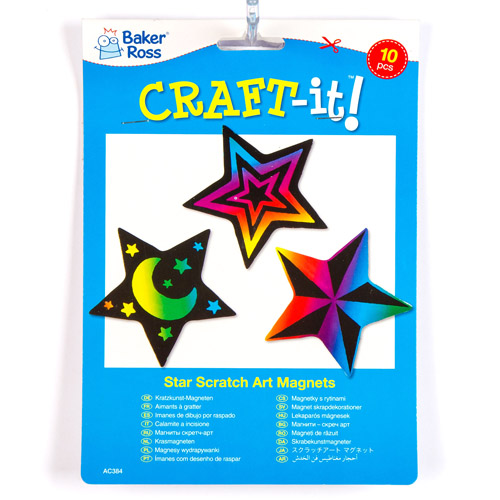 Star Scratch Art Magnets (pack Of 10)