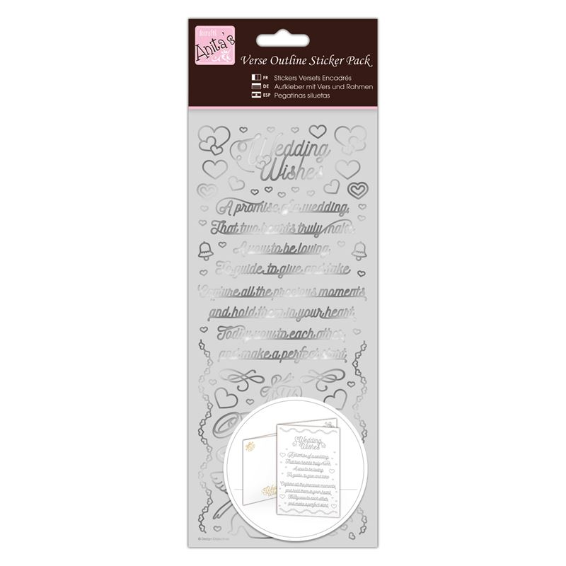 Outline Stickers - Verses - Wedding Wishes - Silve