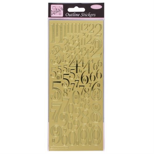 Outline Stickers -Mixed Numbers Gold