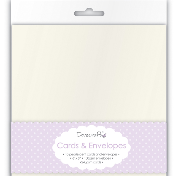 Dovecraft 8 Pearlescent 6x6 Cards & Envelopes