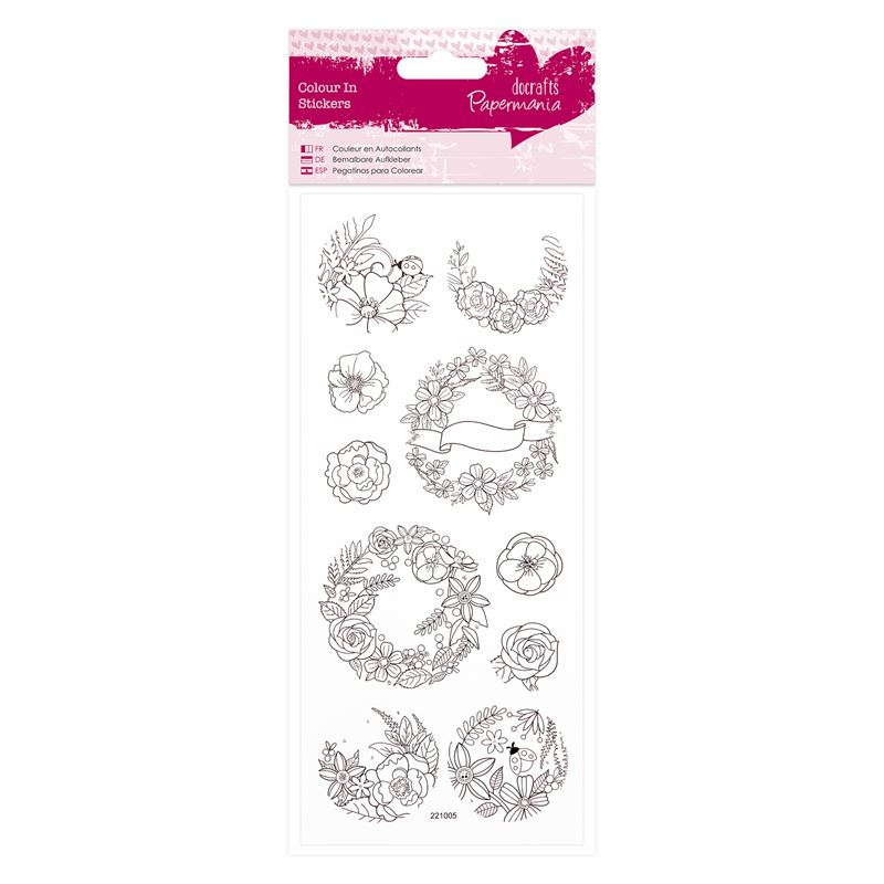 Colour In Glitter Stickers  - Floral Wreaths