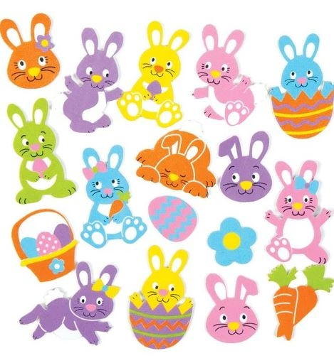Easter Bunny Foam Stickers (pack Of 128)