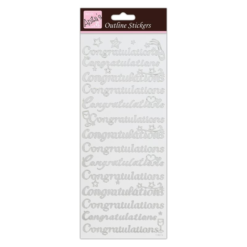 Outline Stickers - Congratulations  - Silver On Whi