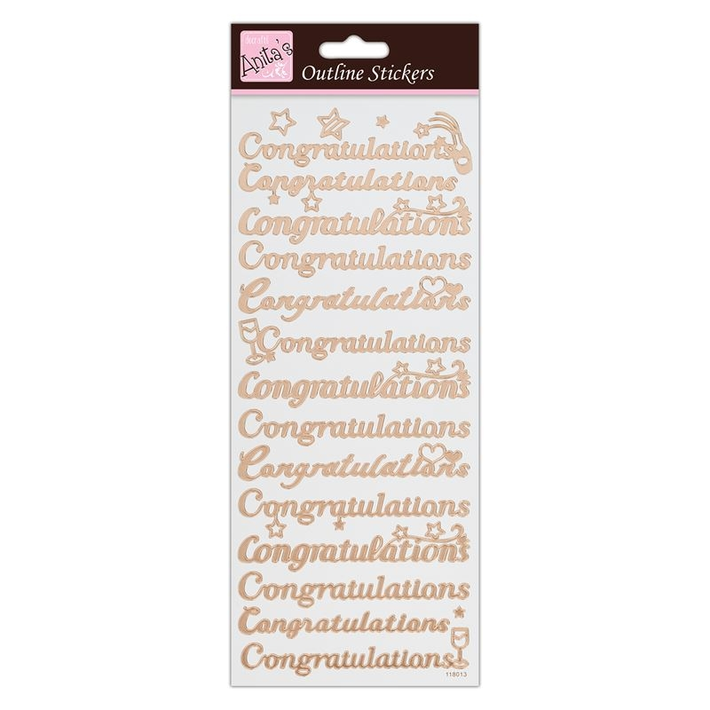Outline Stickers - Congratulations  - Rose Gold On