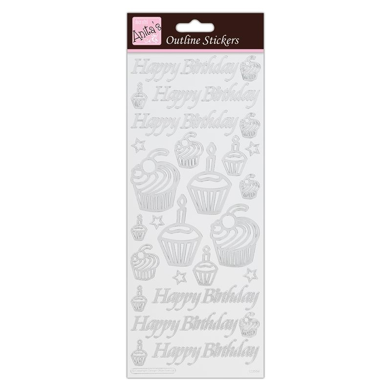 Outline Stickers - Birthday Cupcake  - Silver On Wh