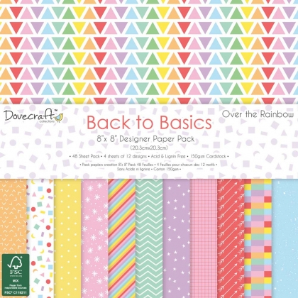 Dovecraft Back to Basics Over The Rainbow 8x8 Paper Pack