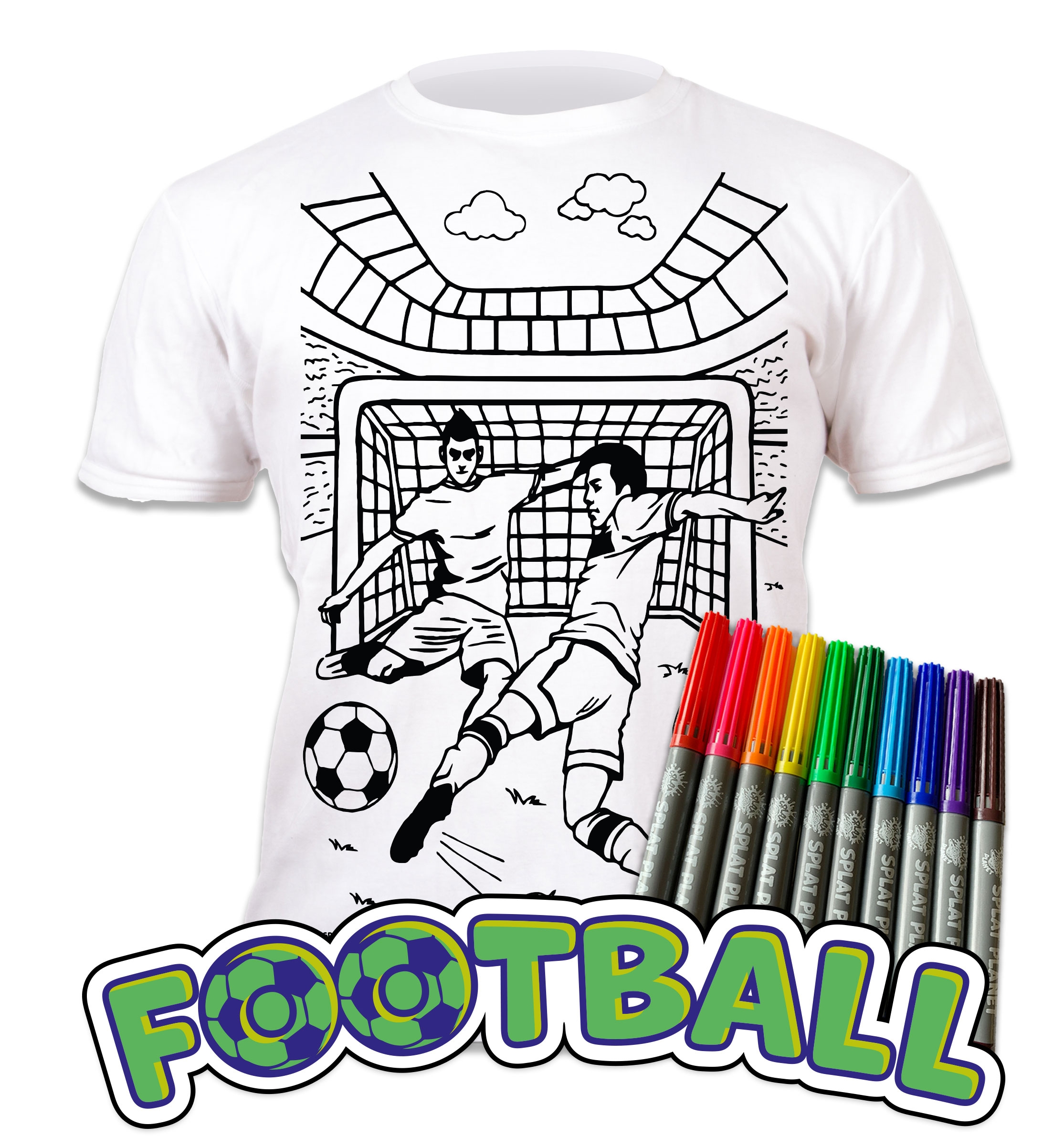 Splat Planet Colour Your Own T-shirt-football Age 3 -4