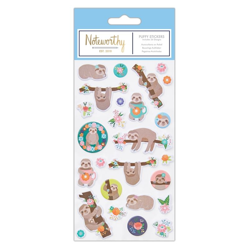Puffy Stickers (26pcs)  - Its A Sloths Life