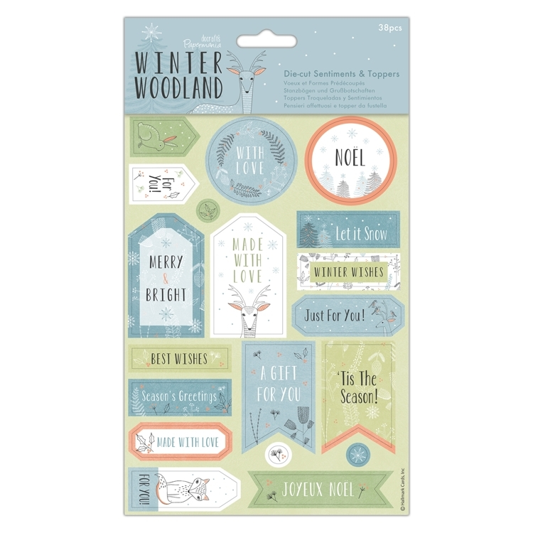 Die-cut Sentiments & Toppers (32pcs)  - Winter Wood