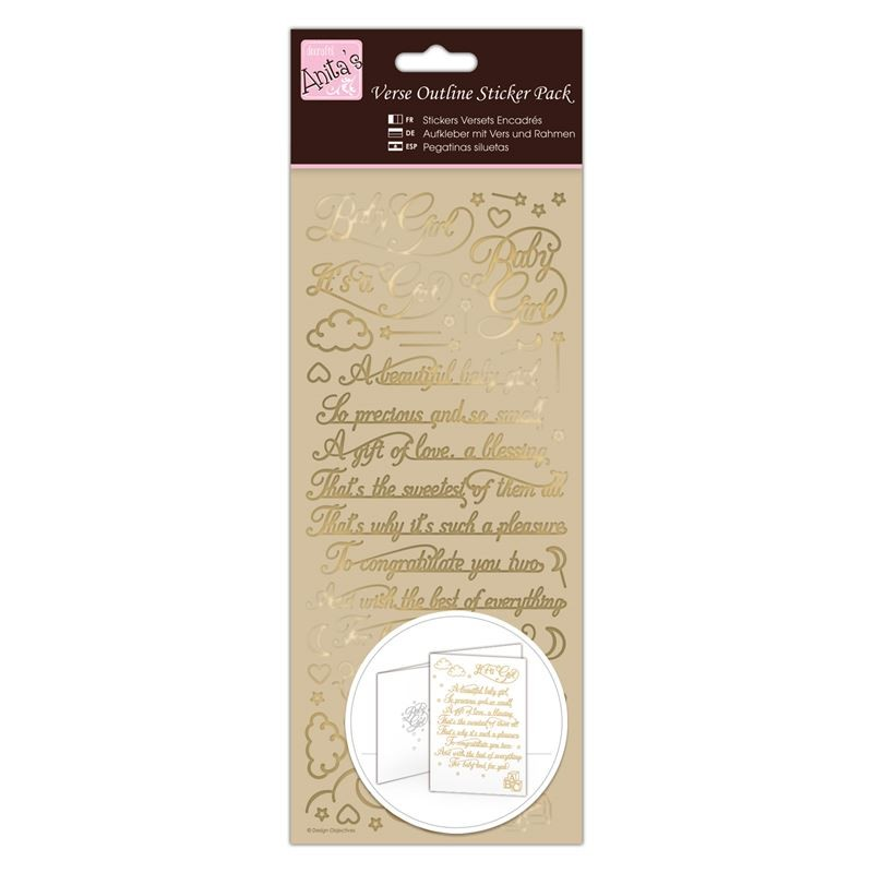 Outline Stickers - Verses - Baby Girl - Gold