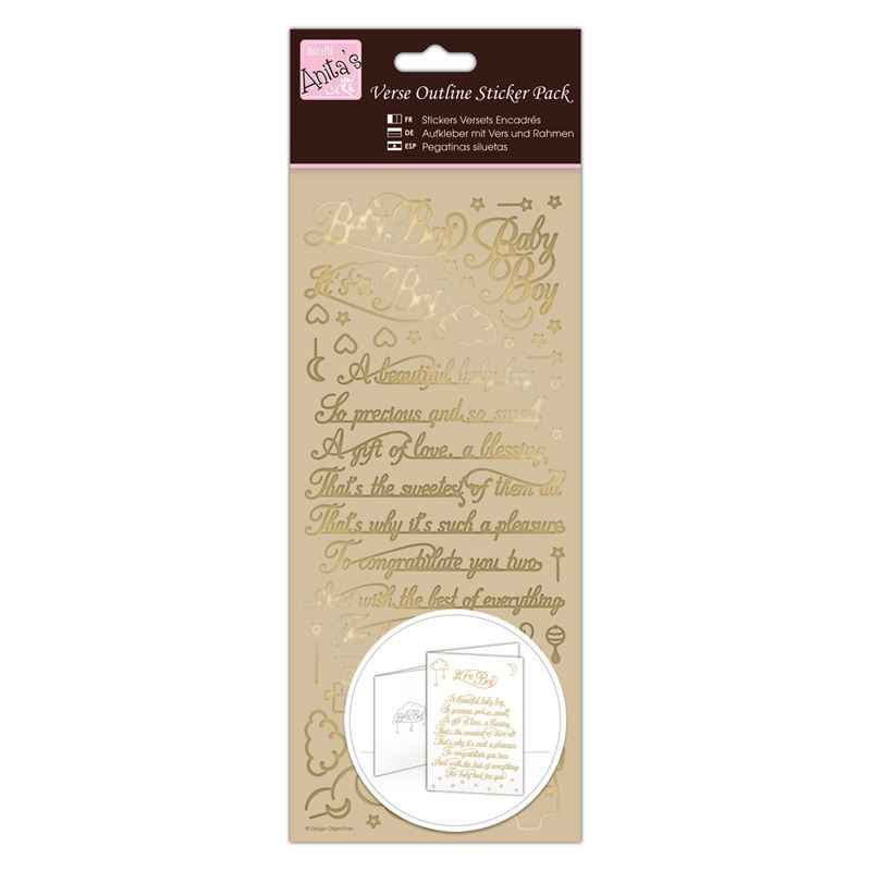 Outline Stickers - Verses - Baby Boy - Gold