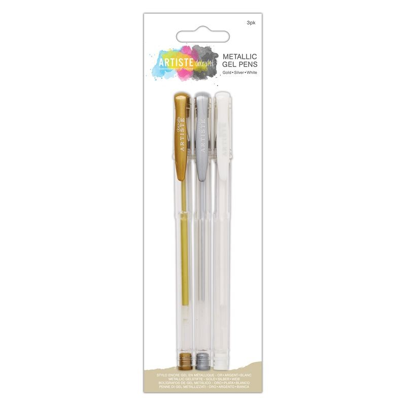 Artiste Metallic Gel Pen Trio (gold,silver & White
