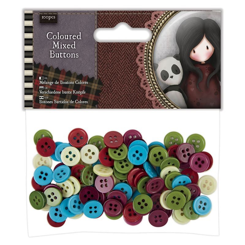 Coloured Mixed Buttons (100pcs)  - Santoro Tweed