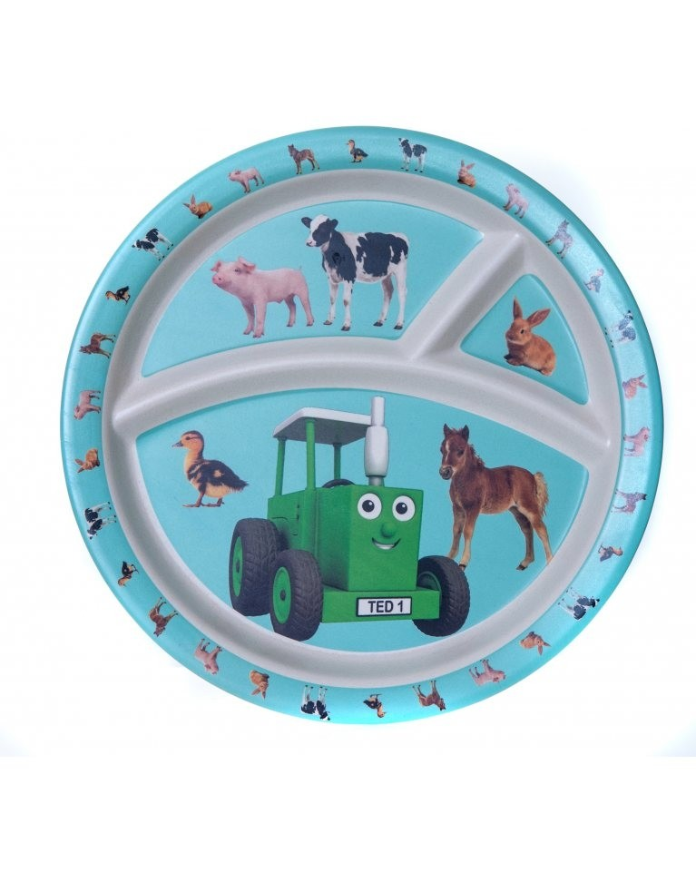 Tractor Ted Bamboo Divider Plate -baby Animals