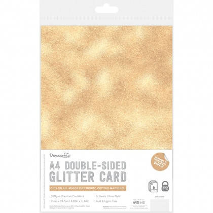 Dovecraft A4 Double Sided Glitter Pack - Rose Gold - 350gsm - 6 Sheets