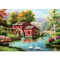 1000pc Art Puzzle -red Old Mill