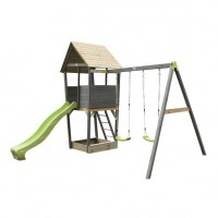 Aksent Wooden Play Tower With Two Swings And Slide