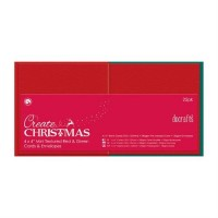 "4 X 4"" Cards/envelopes Textured (25pk,red & Green"