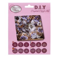Cat & Flowers Crystal Card Kit